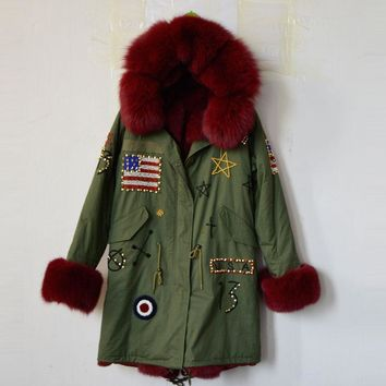 customized USA beading wine red fur parka fox fur collar, hood, cuff, fashion elegant women winter long fur jacket