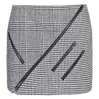 MSGM Plaid and Neoprene Paneled Mini Skirt - Houndstooth Skirt - ShopBAZAAR