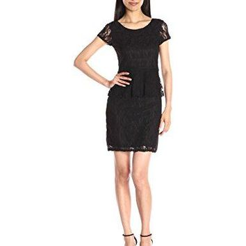 Star Vixen Womens Short Sleeve Classic Lace Peplum Dress with Lined Body