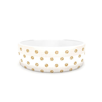 "Pellerina Design ""Linen Polka Stripes"" Gold Dots Pet Bowl"