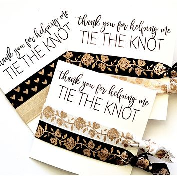 ROSE GOLD Thank you for helping me Tie the Knot, hair tie favors
