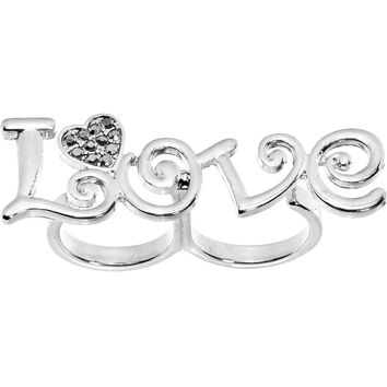 Gun Metal Color Love Heart Double Finger Ring