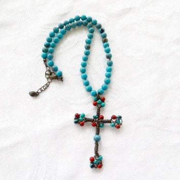 Vintage Cross Necklace, Beaded Southwest Style, Turquoise and Coral, Vintage Wire Cross, Boho Style, Festival Jewelry
