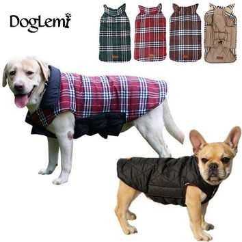 DK7G2 2016 Waterproof Reversible Dog Jacket Designer Warm Plaid Winter Dog Coats Pet Clothes Elastic Small to Large Dog Clothes Winter