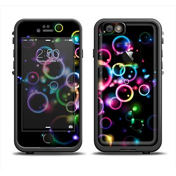 The Glowing Neon Bubbles Apple iPhone 6 LifeProof Fre Case Skin Set
