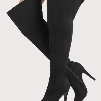 Point Toe Faux Suede Thigh High Heel Boots BLACK