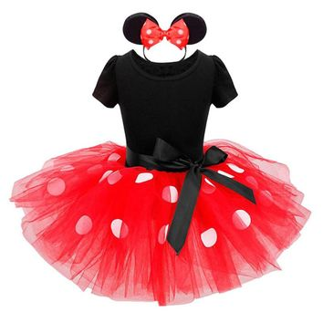 Girls Minnie Dress Set Princess Party Dresses Cartoon Mouse Polka Dot Dress+Headband Bow-knot Girls Dress Costume Kids Clothing