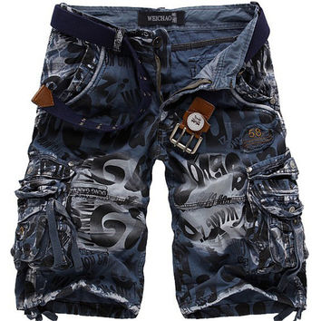New men summer military cargo shorts bermuda masculina jeans male fashion baggy cargo shorts(no belt)