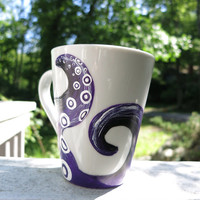 Hand painted 10oz octopus tentacle mug