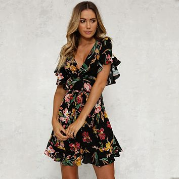 Summer Dress 2018 Women Deep V-Neck Black Flower Print Dresses Hem Folds Bohemian Style Belt Mini Ruffle Beach Dress