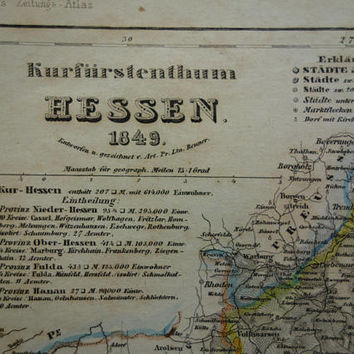 HESSEN old map of kurfürstentum Hesse-Kassel Germany 1849 original antique print of Kassel Schaumburg vintage maps Hessen alte karte von
