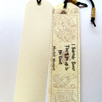 Set of two 2 Original Handmade Bookmarks Harry Potter marauders map, Unique bookmark Harry Potter, Bookmark canvas print, Marauders Map