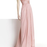 Chiffon One-Shoulder Column Long Evening Dresses - Basadress.com