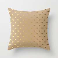 Pillow WITH Insert - Throw Pillow - Romantic Decorative Pillow - Feminine Pillow - Minimalist Pillow - Gold Hearts