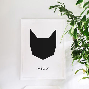 MEOW - Cat Poster - Printable Art - Minimalist - Black and White Art - Modern Interior Decor - Fashion Poster - Instant Download -Modern Art