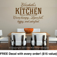 "Kitchen Wall Decals. ""Your Name"" Kitchen-Come Hungry (22"" wide x 15.8"" tall) CODE 029"