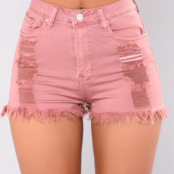This Is Our Time Shorts - Dark Rose