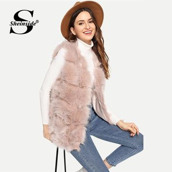 Sheinside Pink Open Front Textured Faux Fur Vest Office Ladies Elegant Clothes Autumn 2018 Sleeveless Outerwear Womens Coats