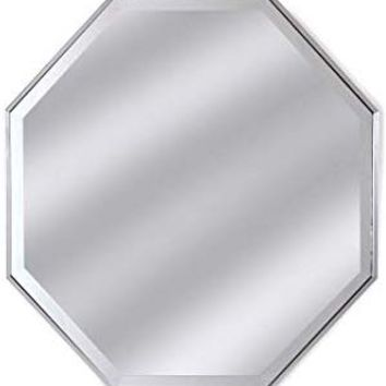 "Alpine Art & Mirror Tivoli 28"" Silver Framed Wall Octagon Mirror"