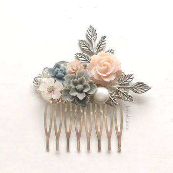 Pink Gray Wedding Hair Comb, Grey Blush Bridal Hair Pin, Silver Leaf Personalised Hair Slide, Custom Made Bridesmaids Gift, Flower Hair Clip