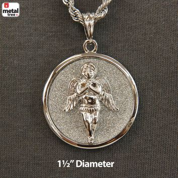 "Jewelry Kay style Men's Hip Hop Iced Out Angel Medallion 24"" 4 mm Rope Chain Pendant Necklace Set"
