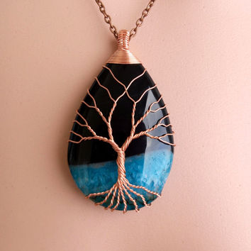 TREE Of LIFE Copper Wire Wrapped Black Blue Onyx Druzy  Agate   Stone Pendant Necklace Copper Patina Onix Druzi Agate