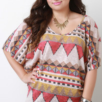 Plus Size Tribal Knit Dolman Top