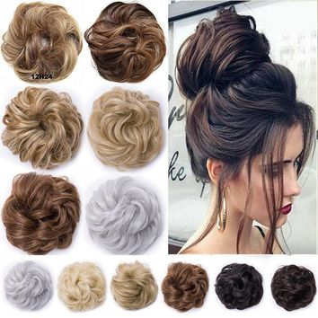 US Messy Bun Hair Extensions Hair Piece Bun Pony tail Elastic Scrunchie Wavy FX8
