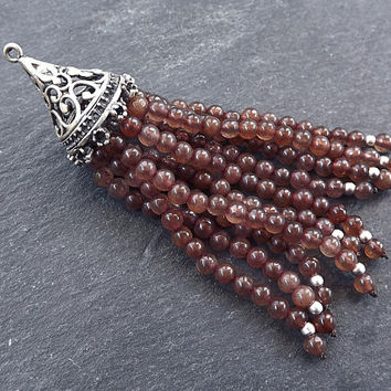 Long Brown Tassel, Brown Beaded Tassel, Jade Stone, Gemstone Tassel, Tassel Pendant, Filigree, Silver Tassel, Matte Antique Silver Plated