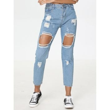 Blue Regular High Waist Straight Leg Jeans