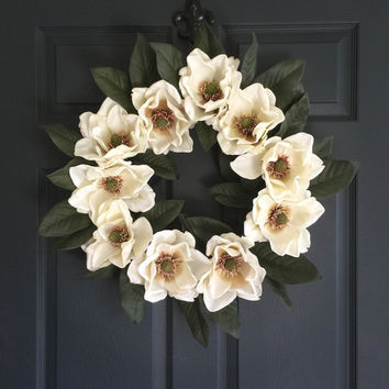 Blossoming Magnolia Wreath - Wedding Wreaths - Wedding Decorations - Front Door Wreath - Magnolia Blossoms - Southern Wedding Decor