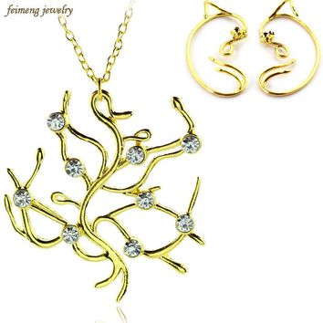 2017 New Movie Beauty and the beast Jewelry Sets Rose Tree Pendant Necklace and Clip Earrings Best Gift for Women