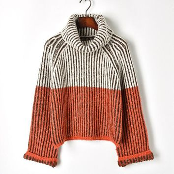 Autumn Winter Runway Orange Striped Patter Print Knitting Mohair Warm Thick Turtleneck Sweater Pullovers Haute Couture