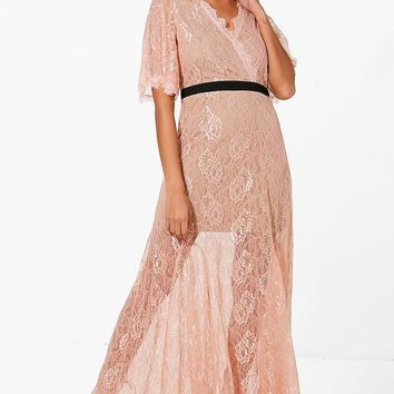 Boutique May Lace Angel Sleeve Maxi Dress | Boohoo