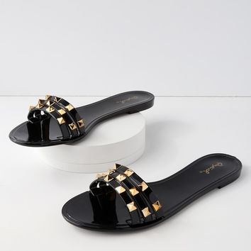Jett Black Studded Jelly Slide Sandals
