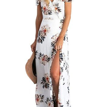 Women Dress Summer Elegant Floral Print Spaghetti Strap Casual Chiffon Maxi Dresses 15 Colors Party Vestidos 1125