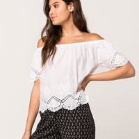 FULL TILT Crochet Womens Off The Shoulder Top