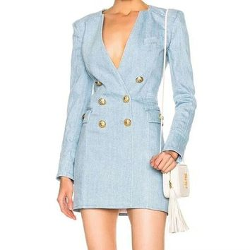 Long Sleeve Metal Lion Buttons Double Breasted Minu Dress