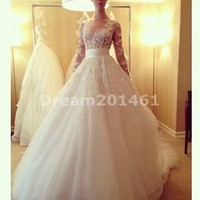 Sheer Appliques Wedding Dress With Sleeve Custom Size 2 4 6 8 10 12 14 16 18 20