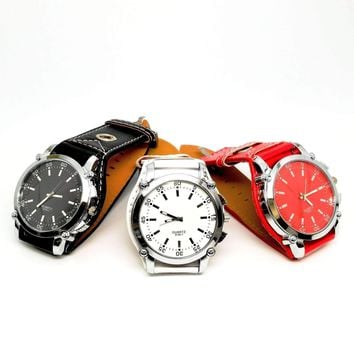 """Big Time"" Over-sized Wrist Watch with Wide Leather Band - 3 Colors to Choose"