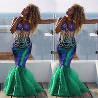 US Stock Sexy Women Mermaid Costume Skirt Fancy Party Cocktail Sequins Maxi Skirts Mermaid Tail Party Evening Vestido Plus Size