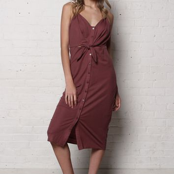 Cara Knotted Cutout Midi Dress - Mauve