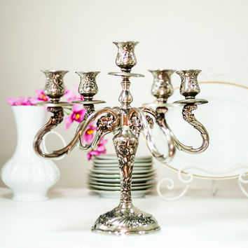 14'' Victorian Style Candelabra: Vintage Silver Plated Candle Holder Candlesticks, Home Decor Centerpiece, Listed by CozyTraditions