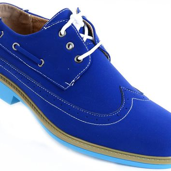 Men's Wing-tip Vegan Suede Rockabilly Casual Blue Oxford Shoes