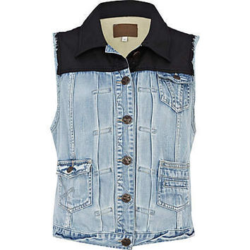 blue denim and pu gilet