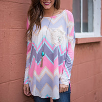 Ups And Downs Top, Pink-Purple