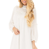 Off White High Neck Dress with Bubble Sleeves