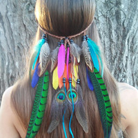 Bird of Paradise - Feather headband, native, american, style, indian, hippie, headband, bohemian headband, wedding, feather veil, rainbow