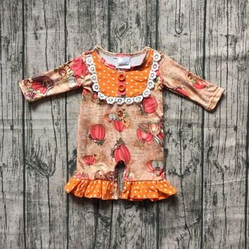 Thanksgiving new arrival cute baby girls Toddler orange pumpkin clothing infant romper tutu cotton romper long sleeve ruffles