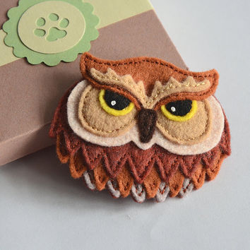 Felt Owl Brooch - Hand Stitched Applique made from Wool Felt - in Handmade Gift Box